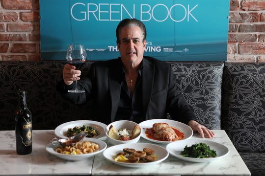 Frank Vallelonga, is the owner of Tony Lips, in Franklin Lakes.  Vallelonga named the restaurant after his father, Tony Vallelonga.  The movie, 'Green Book' was written by Frank Vallelonga's brother, Nick about their father and jazz musician, Don Shirley.  Frank Vallelonga is shown as he poses behind a table with, cavatelli abruzzese, calamari fritte, meatballs, clam oreganata, eggplant parmigiano, and broccoli rabe. Thursday, February 21, 2019.