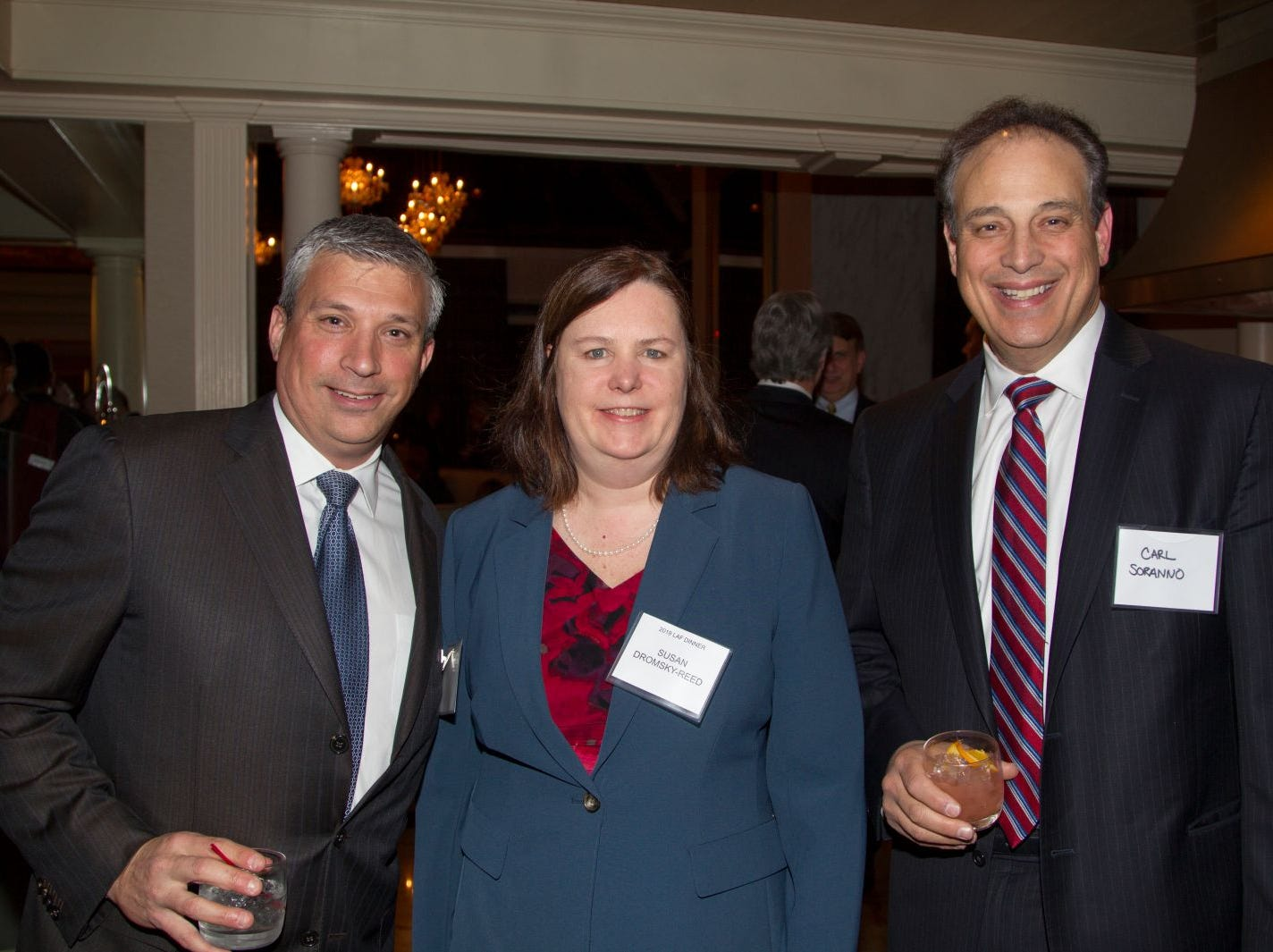 Tony Pentz, Susan Dromsky-Reed, Carl Soranno. Eva's Village hosted its second annual Lawyers, Accountants and Financial Professionals Benefit Dinner at Westmount Country Club in Woodland Park. 02/21/2019