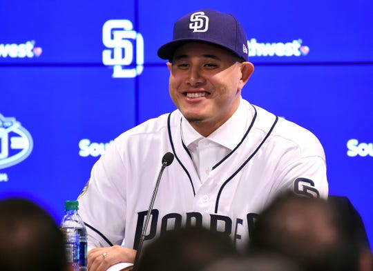 Feb 22, 2019; Peoria, AZ, USA; San Diego Padres Manny Machado (13) answers questions from the media during an introductory press conference at the Peoria Sports Complex.