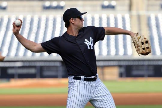 Feb 22, 2019; Tampa, FL, USA;New York Yankees first baseman Greg Bird (33) works out at George M. Steinbrenner Field.