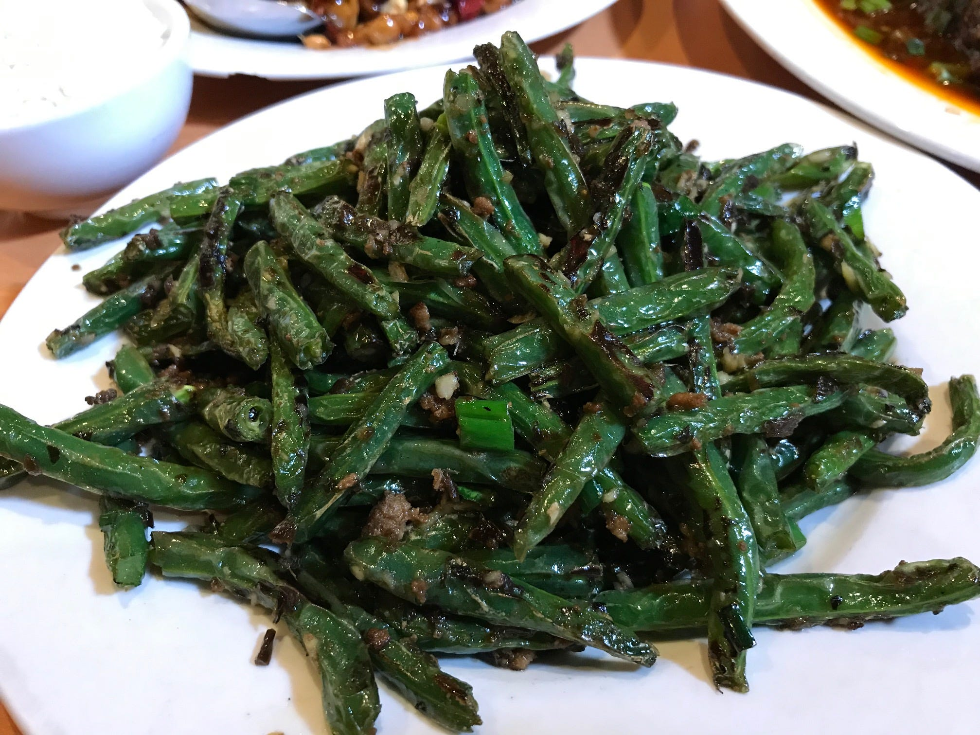 String beans with minced pork at Cheng Du in Wayne
