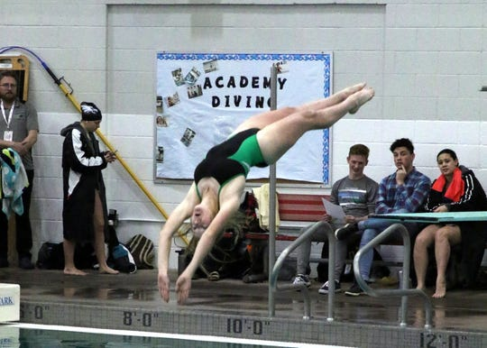 Farmington's Eliza Merrion takes her third dive of the morning during Friday's round of the 2019 NMAA State Swimming and Diving Championships at Albuquerque Academy.