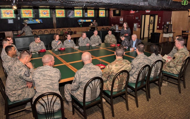 Robert D. Gaylor, fifth Chief Master Sgt. of the Air Force, has lunch with the 49th Wing's First Sergeants, Feb. 15, 2019, at Shenanigans on Holloman Air Force Base, N.M. Gaylor engaged with the First Sergeants on resolving issues and how the Air Force changes.