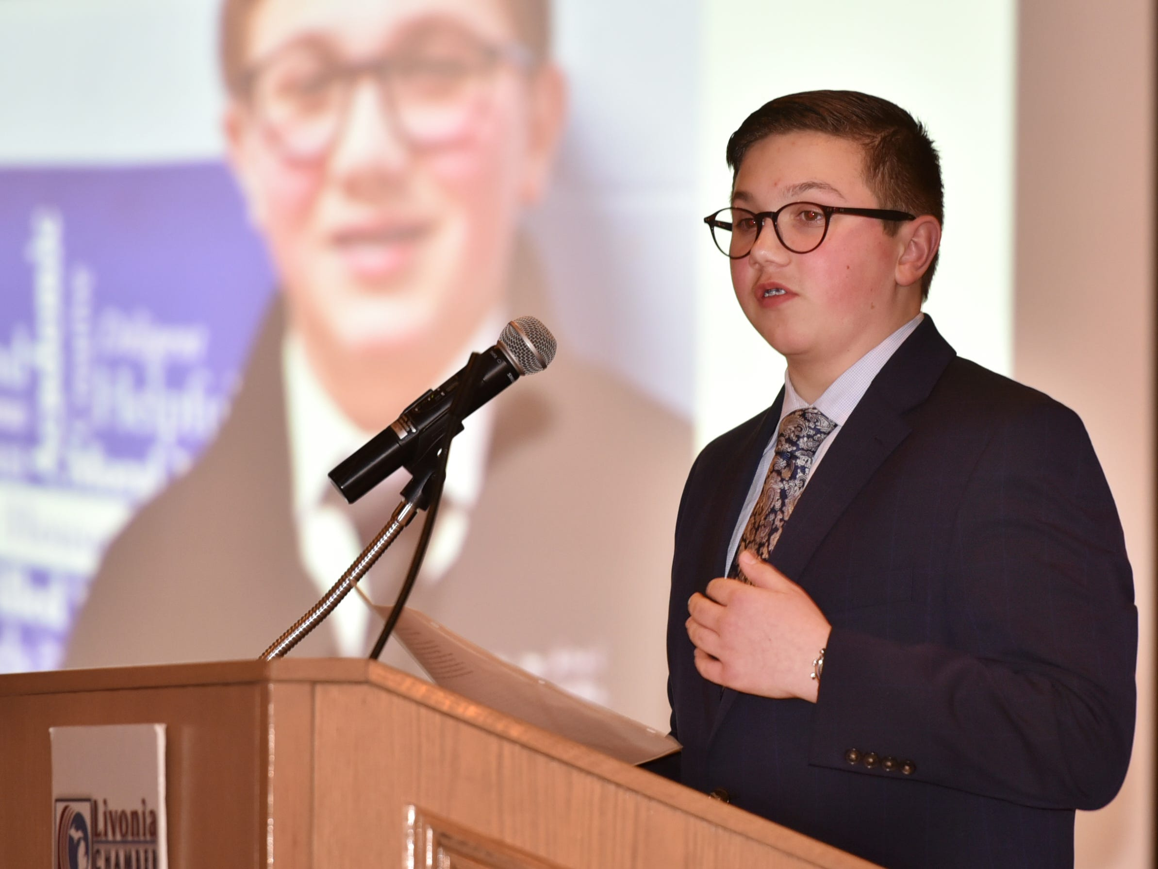 Thirteen year-old David Kibbey has a few remarks after being awarded the Outstanding Youth Award at the Feb. 21 ceremony.