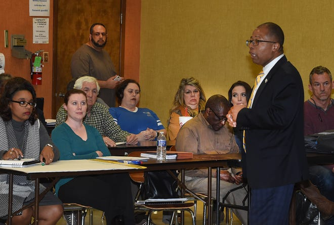 St. Landry Parish school superintendent Patrick Jenkins speaks to a crowd during Wednesday night's public forum.
