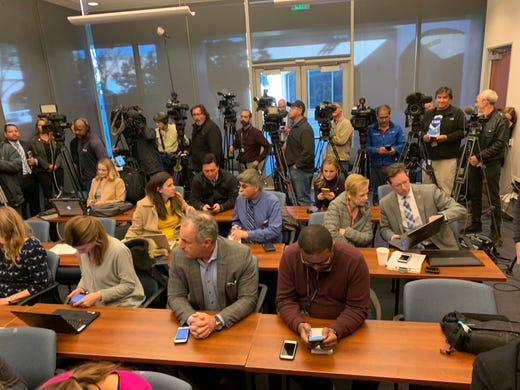 Media from across the country await comments from Riverside County District Attorney Mike Hestrin after David and Louise Turpin pleaded guilty to torture and abuse charges on Feb. 22, 2019.