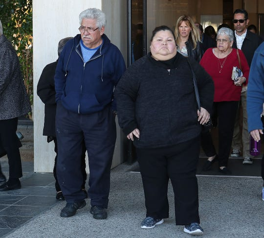Juana Raya, right, exits Larson Justice Center after attending the preliminary hearing for Jose Larin-Garcia who is charged in the death of her son who was one of four young people shot dead in Palm Springs earlier this month, February 22, 2019.
