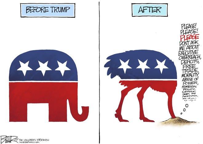 Nate Beeler drew this editorial cartoon.