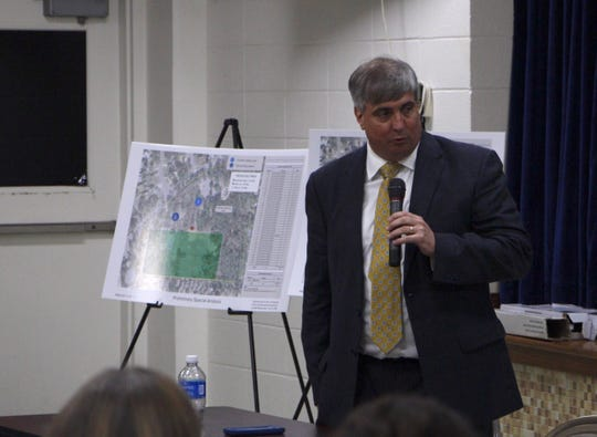 Pensacola Mayor Grover Robinson speaks to residents about soccer fields at Scenic Heights Elementary School on Thursday, Feb. 21, 2018.