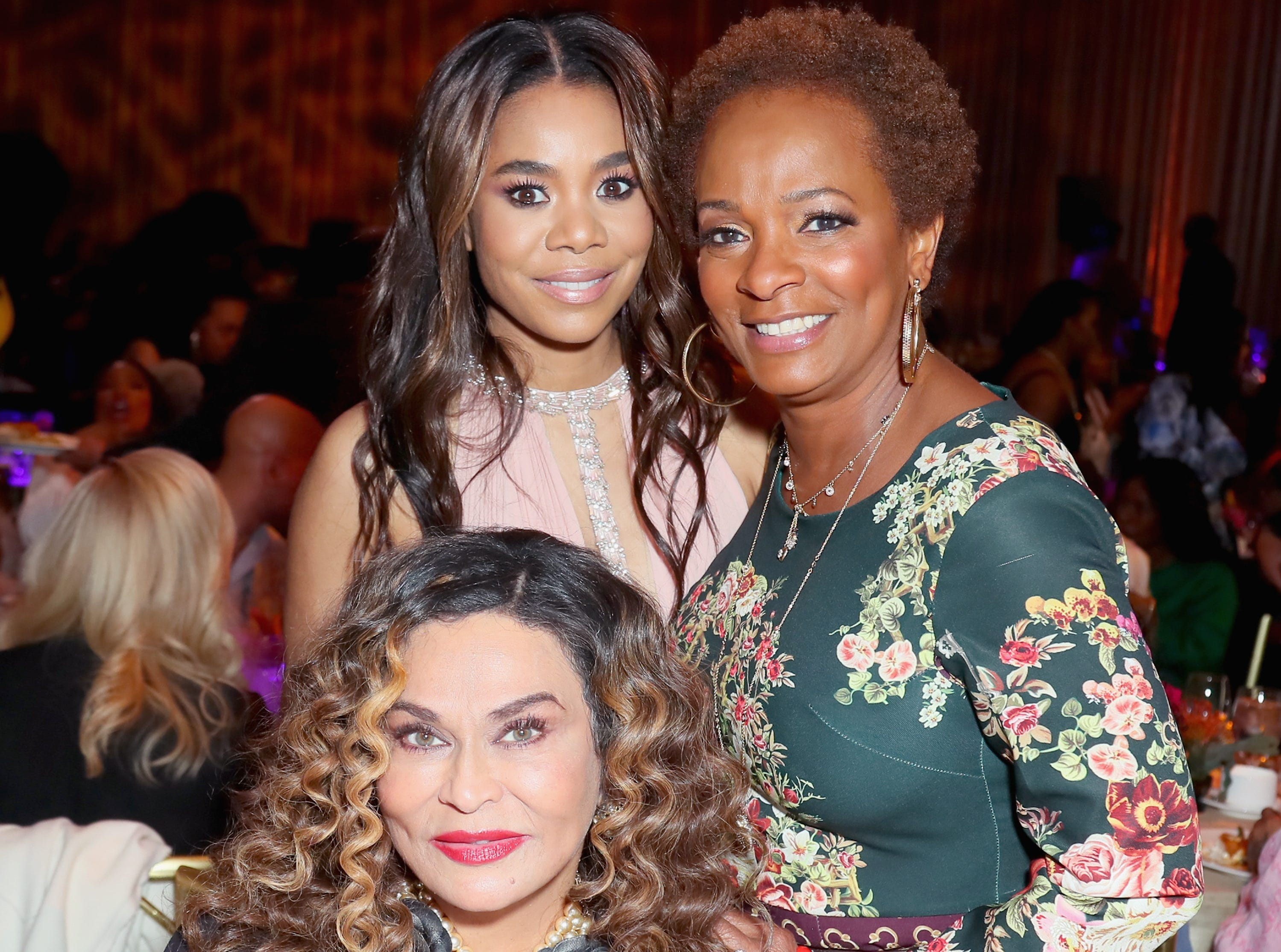 BEVERLY HILLS, CA - FEBRUARY 21:  (L-R) Tina Knowles Lawson, Regina Hall and Vanessa Bell Calloway attend the 2019 Essence Black Women in Hollywood Awards Luncheon at Regent Beverly Wilshire Hotel on February 21, 2019 in Los Angeles, California.  (Photo by Leon Bennett/Getty Images for Essence) ORG XMIT: 775299567 ORIG FILE ID: 1126612194