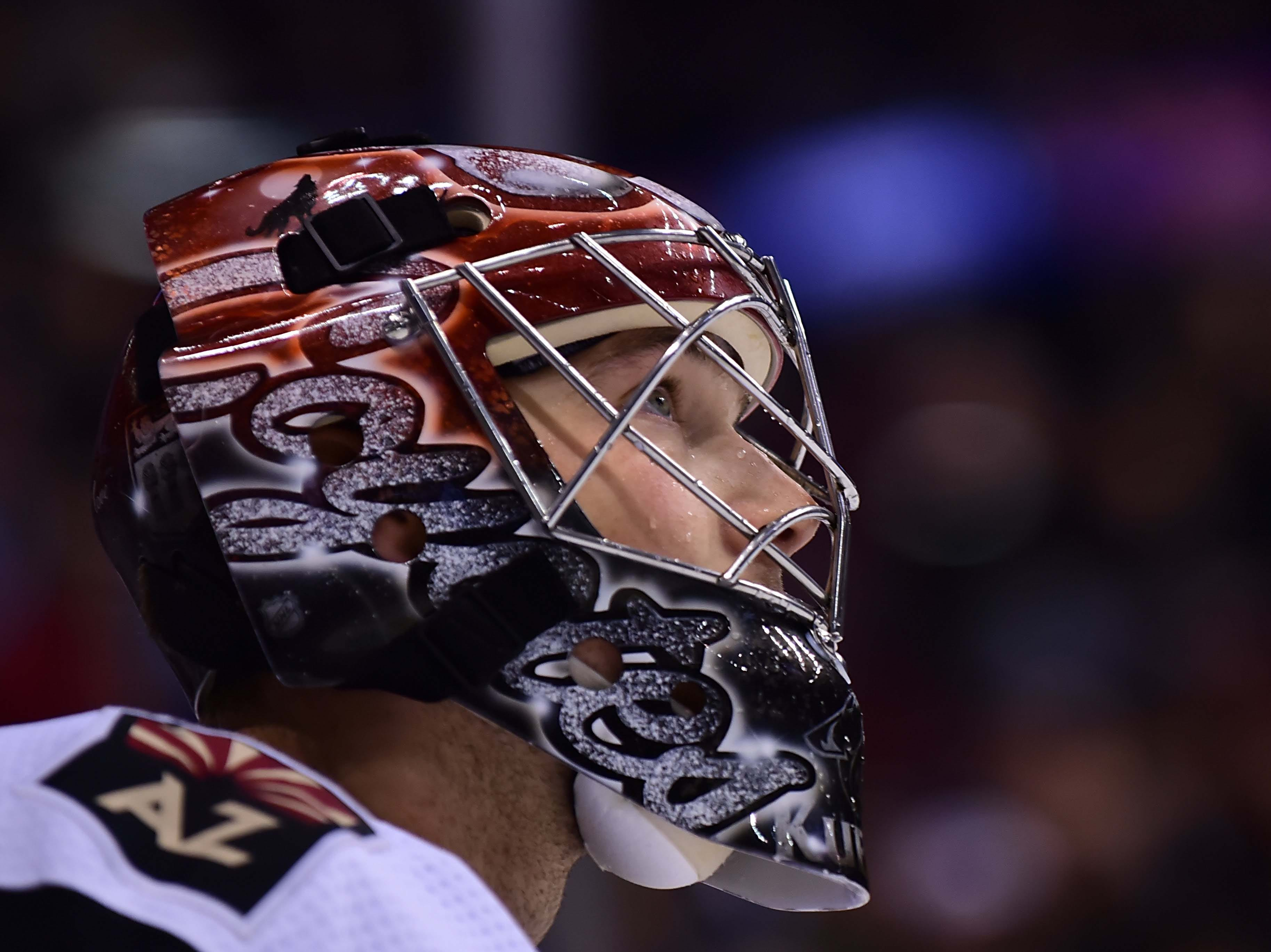 Feb 21, 2019; Vancouver, British Columbia, CAN; Arizona Coyotes goaltender Darcy Kuemper (35) awaits the start of play against the Vancouver Canucks during the first period at Rogers Arena. Mandatory Credit: Anne-Marie Sorvin-USA TODAY Sports