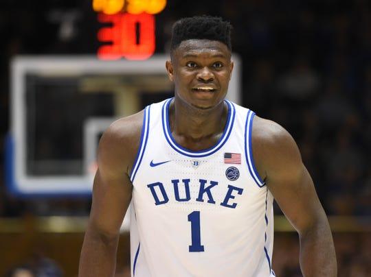 Duke forward Zion Williamson is the presumptive No. 1 pick in the NBA draft.