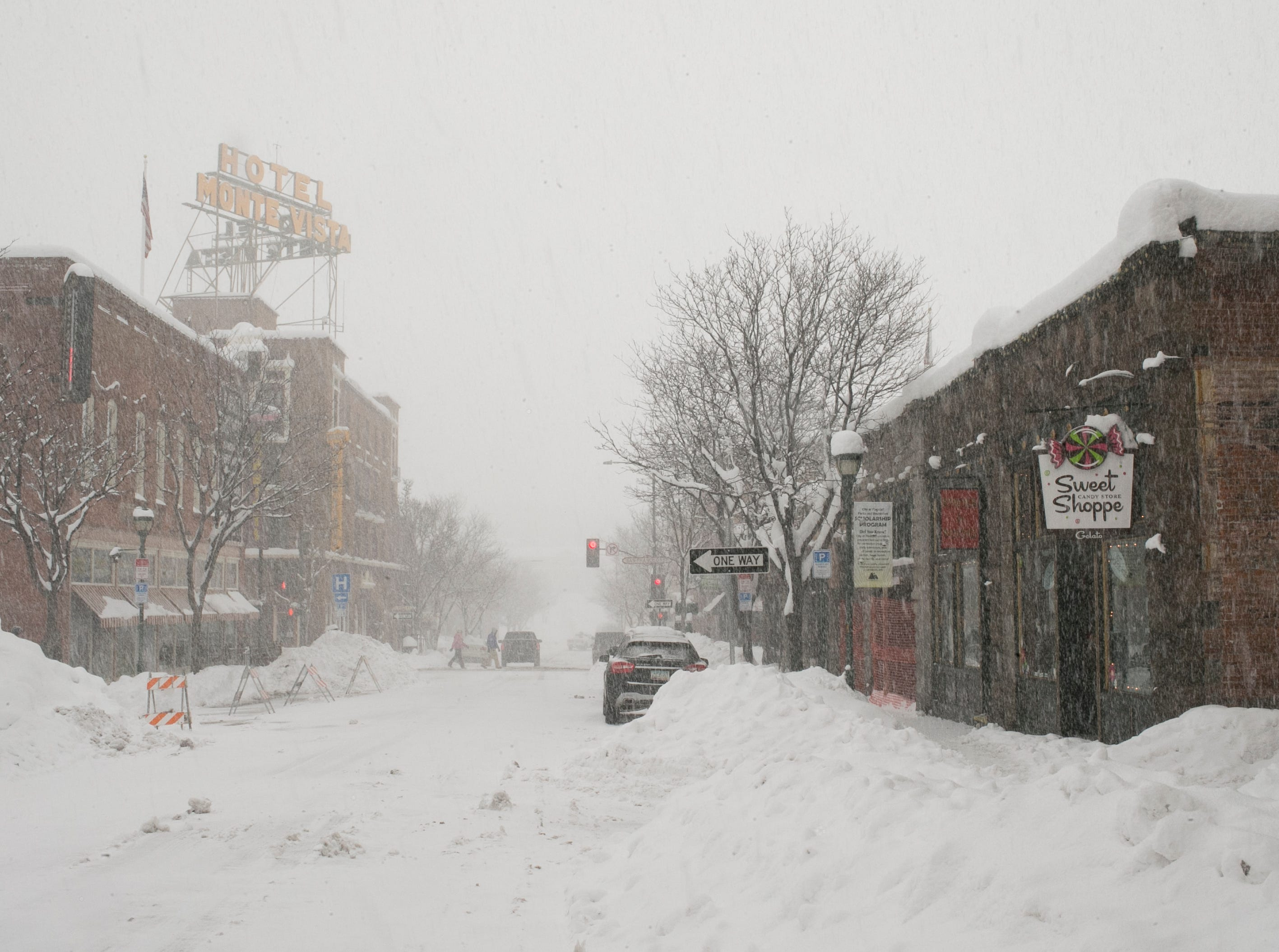 Snow blankets downtown Flagstaff the morning after a storm on Feb. 22, 2019.