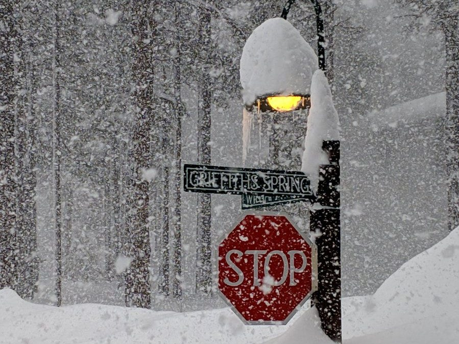 "Lisa Abernethy posted this photo to Twitter saying ""I don't think the stop sign will be visible much longer."""