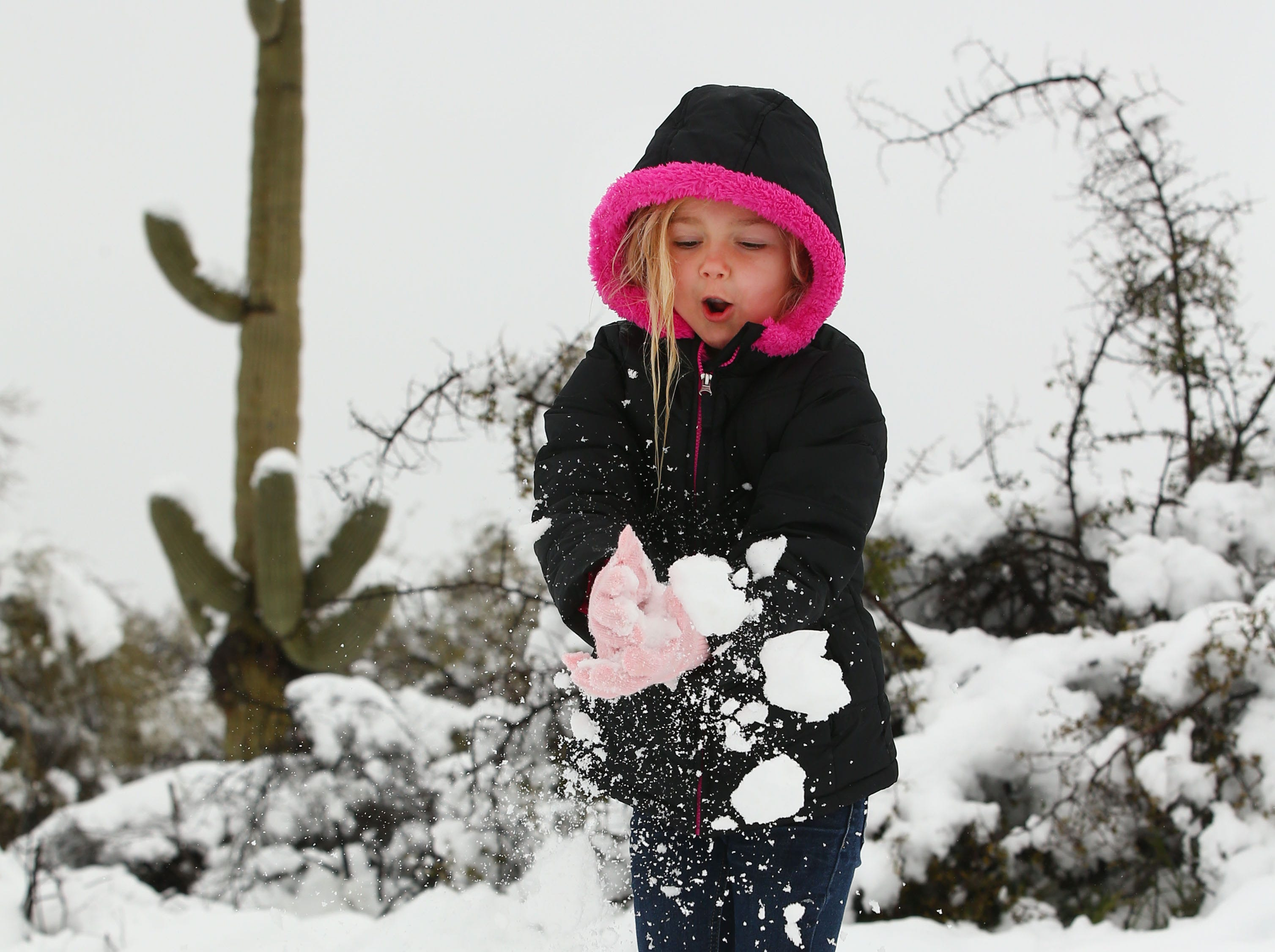 Ashlee Martin, age 5 has gets hit with snowball with a saguro cactus in the background after a winter storm brought six inches of snow on Feb. 22, 2019 in Scottsdale, Ariz.