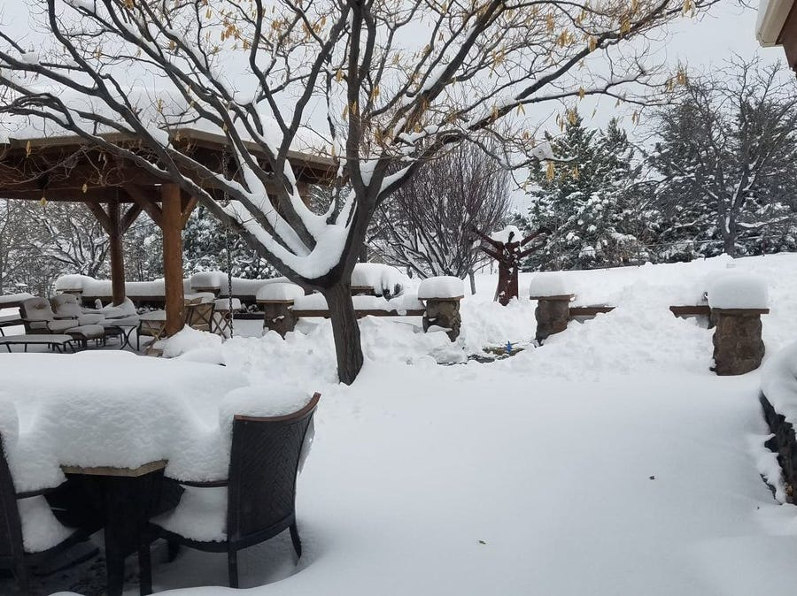 "Cori Gunnells shared this image via Twitter and said ""Prescott, AZ (Williamson Valley) ~ 14"" so far...."""