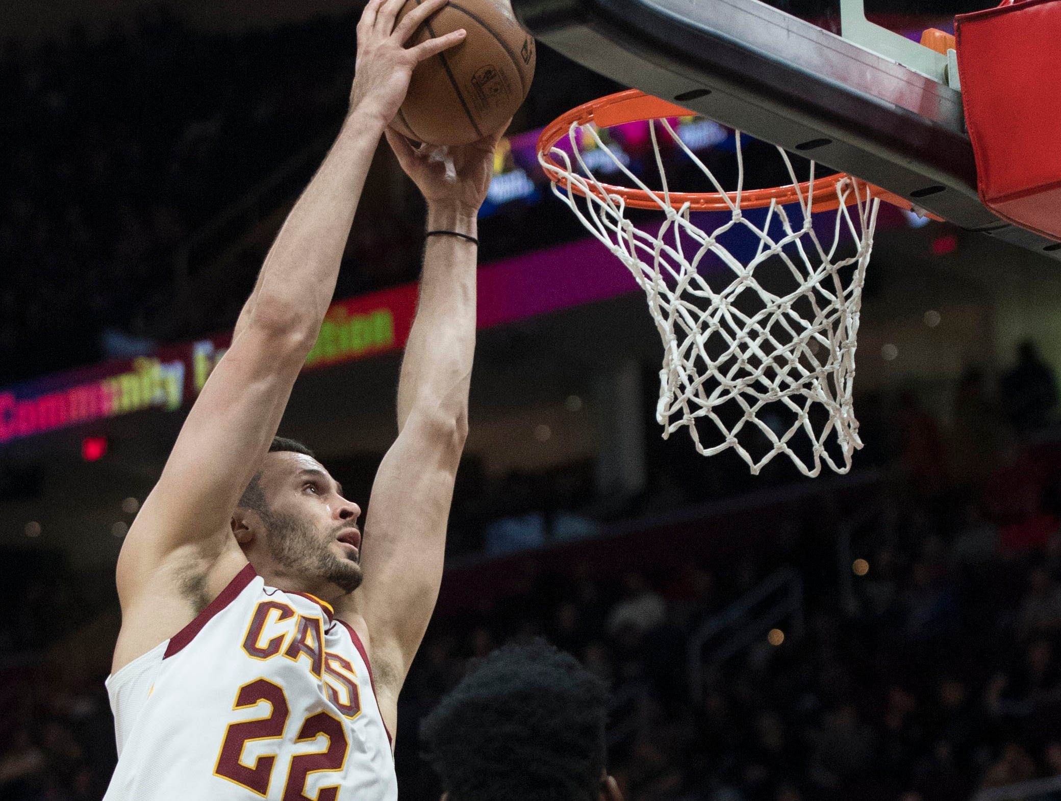 Feb 21, 2019; Cleveland, OH, USA; Cleveland Cavaliers forward Larry Nance Jr. (22) dunks against Phoenix Suns center Deandre Ayton (22) during the second half at Quicken Loans Arena. Mandatory Credit: Ken Blaze-USA TODAY Sports
