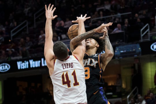 Feb 21, 2019; Cleveland, OH, USA; Cleveland Cavaliers center Ante Zizic (41) blocks a shot by Phoenix Suns forward Kelly Oubre Jr. (3) during the first half at Quicken Loans Arena. Mandatory Credit: Ken Blaze-USA TODAY Sports