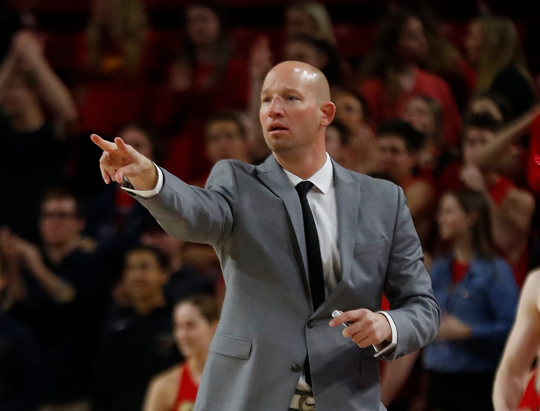 Chaparral's head coach Dan Peterson talks to his team during second half of the 6A boys basketball semifinal against Hamilton at Wells Fargo Arena in Tempe, Ariz. on February 21, 2019.