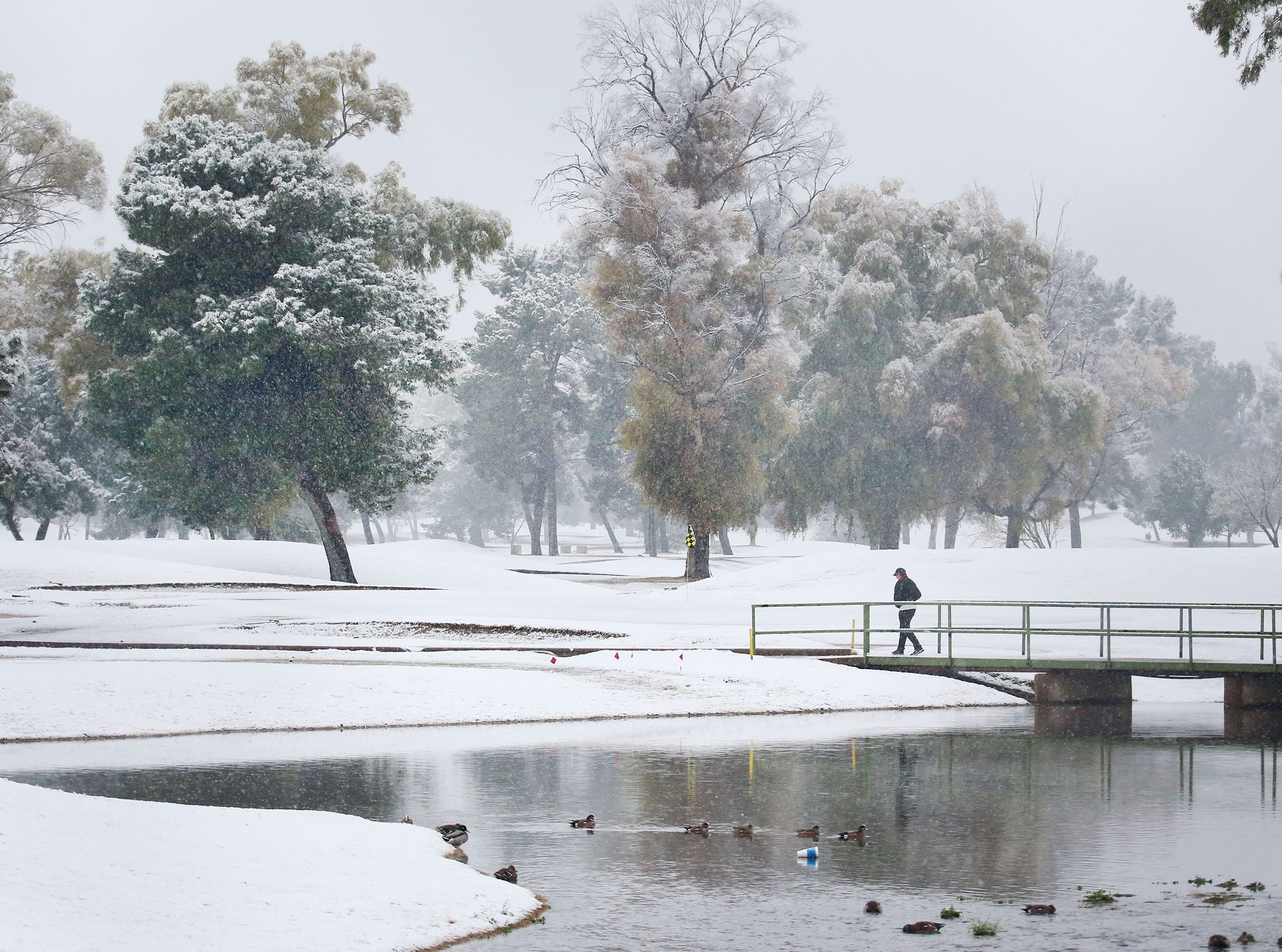 Hole No. 9 at Randolph Golf Course looks to be playing a bit long today as the Tucson area receives snowfall following a late February storm system Feb. 22, 2019.