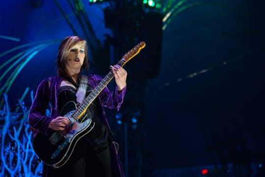"""""""Amaluna"""" bandleader Rachael Wood is a longtime session guitarist who left Sinead O'Connor's band to join Cirque du Soleil."""