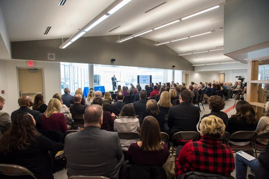 A crowd of community members and business leaders gather at the Early Childhood Center in Port Huron Friday, Feb. 22, 2019 to listen to Port Huron Schools Superintendent Jamie Cain's fourth annual State of the District address.