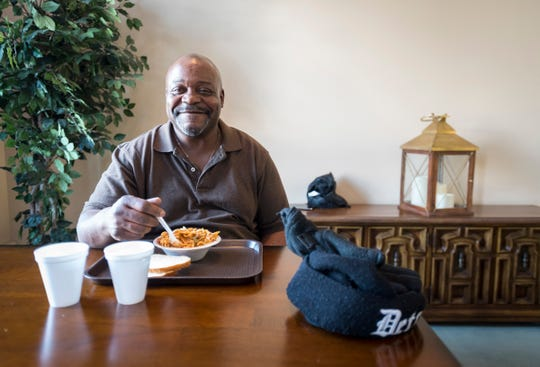 Benjamin Jones eats lunch of beef stew with noodles and bread Tuesday, Feb. 19, 2019 at the Center in Port Huron. Jones, originally from Detroit, tries to volunteer  almost every day, and additionally wants to fundraise for the Center.