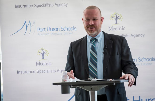 Port Huron Schools Superintendent Jamie Cain speaks at the fourth annual State of the District address Friday, Feb. 22, 2019 at the district's Early Childhood Center.