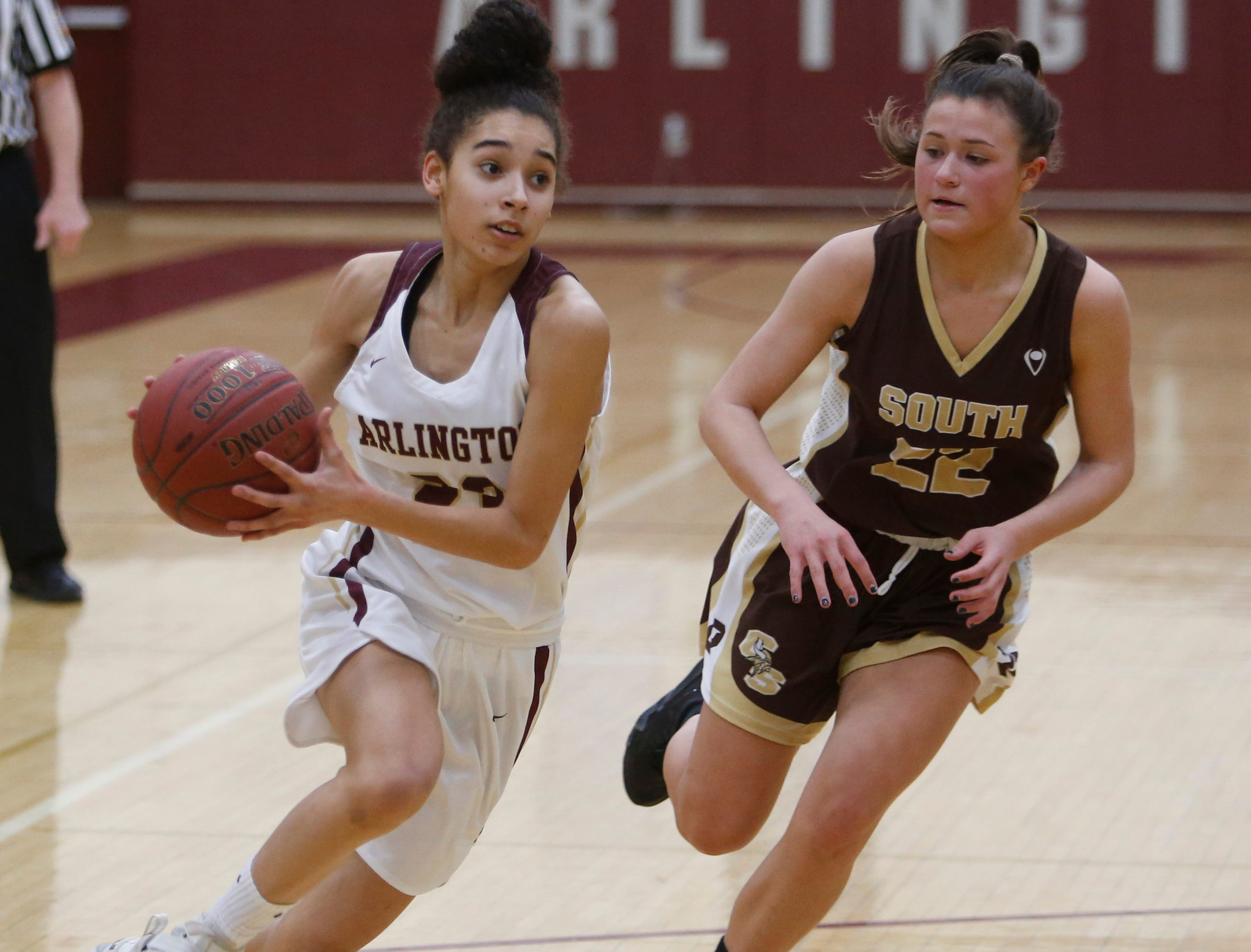 Action Thursday's playoff game between Arlington and Clarkstown South in Freedom Plains on February 21, 2019.