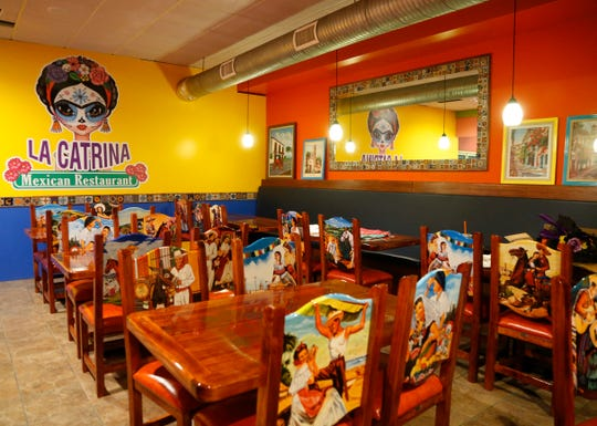 La Catrina Restaurant in the Town of Poughkeepsie on February 20, 2019. The seating is decorated with traditional Mexican motifs depicting life in the various regions of the country.