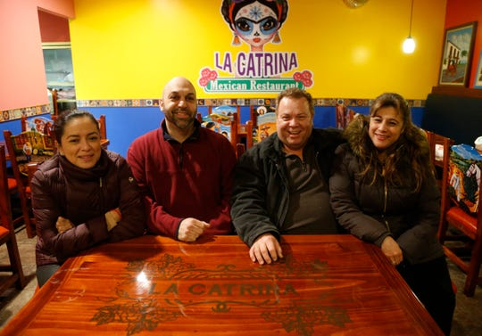 Owners of La Catrina Restaurant, from left, Karina & Ron Bantine, Angel Diez and Luz Arango in the Town of Poughkeepsie on February 20, 2019. The family friendly Mexican restaurant will open in Spring of 2019.