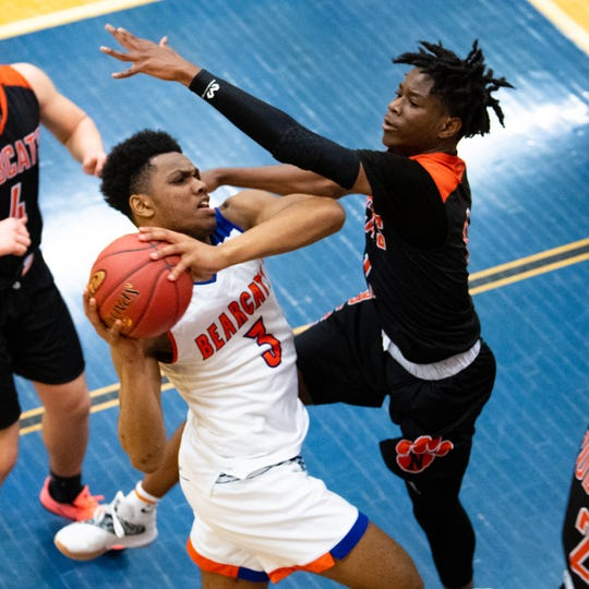 Clovis Gallon Jr. (3) of York High looks to score during the District 3 quarterfinals boys' basketball game between York High and Northeastern, February 21, 2019 at William Penn Senior High School. The Bearcats defeated the Bobcats 80 to 57.