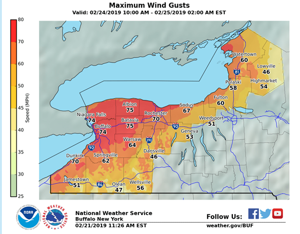 Windstorm causes closures, thousands of power outages across New York state