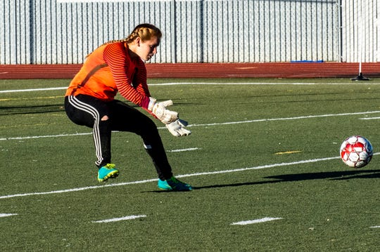 U-Prep goalkeeper Kendall Nadin fields the ball during the Panthers' 6-0 win in a Division II Northern Section semifinal on Thursday, Feb. 21.