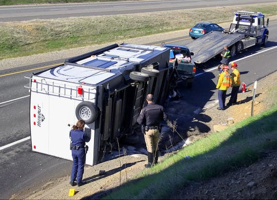 An overturned trailer slowed traffic starting about noon Friday, Feb. 22, 2019, on northbound Interstate 5 just north of Twin View Boulevard in Redding.