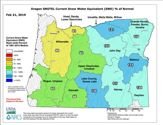 Snowpack map as of Feb. 21