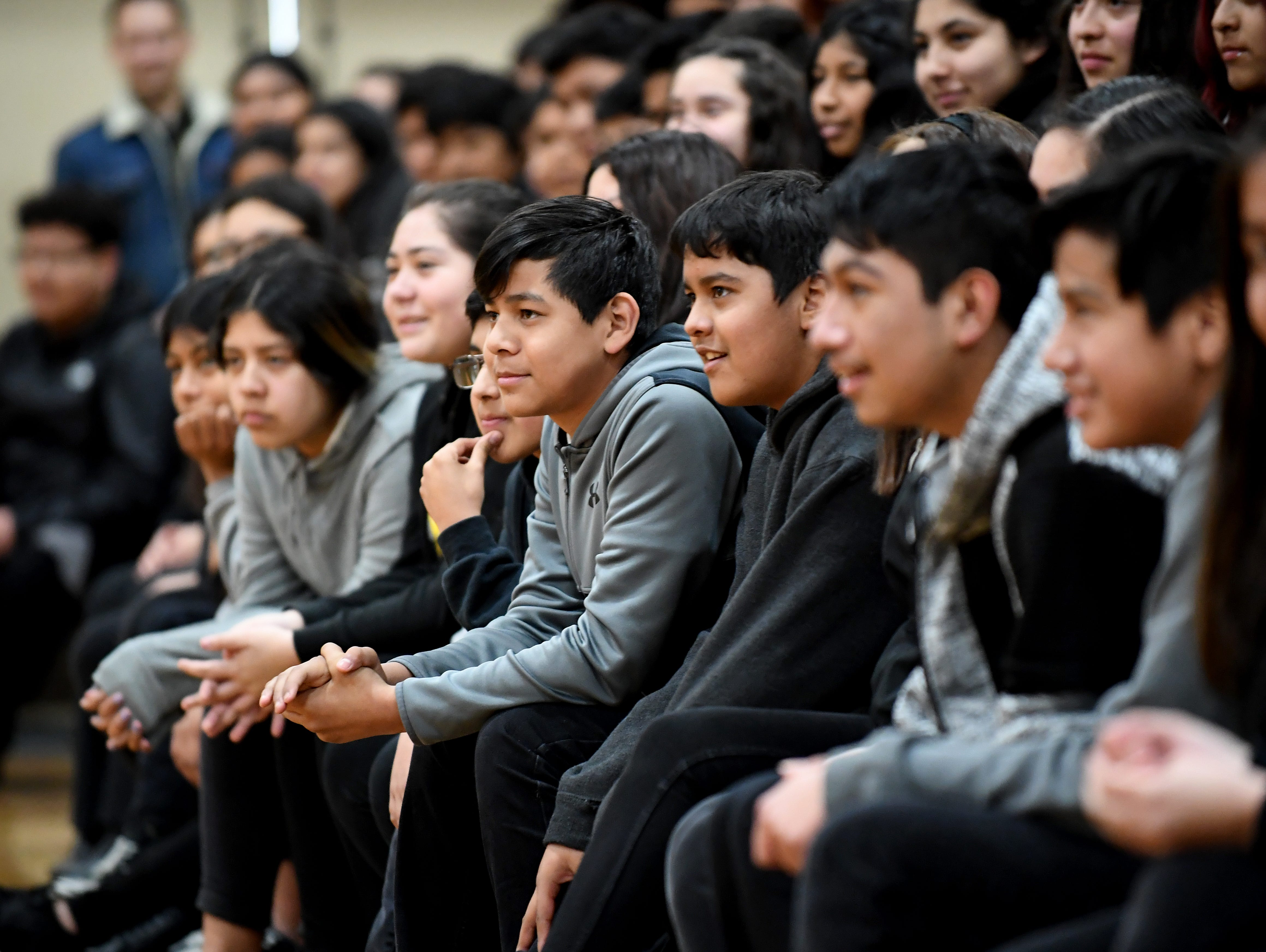 El Sausal Middle School students watch as alum James Thompson performs for them during a special visit Feb. 21, 2019.