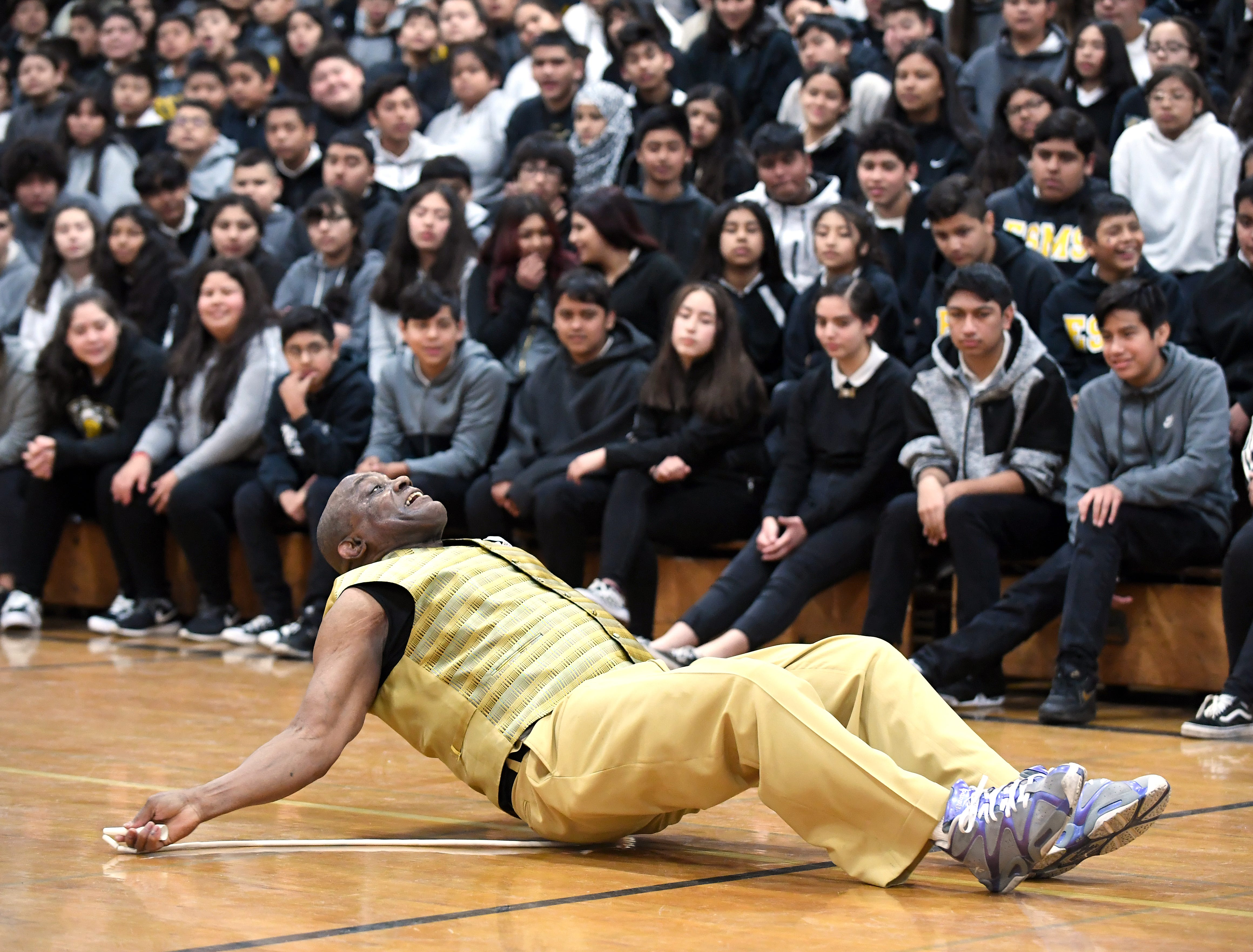 James Thompson perform with a jump rope at El Sausal Middle School on Feb. 21, 2019.