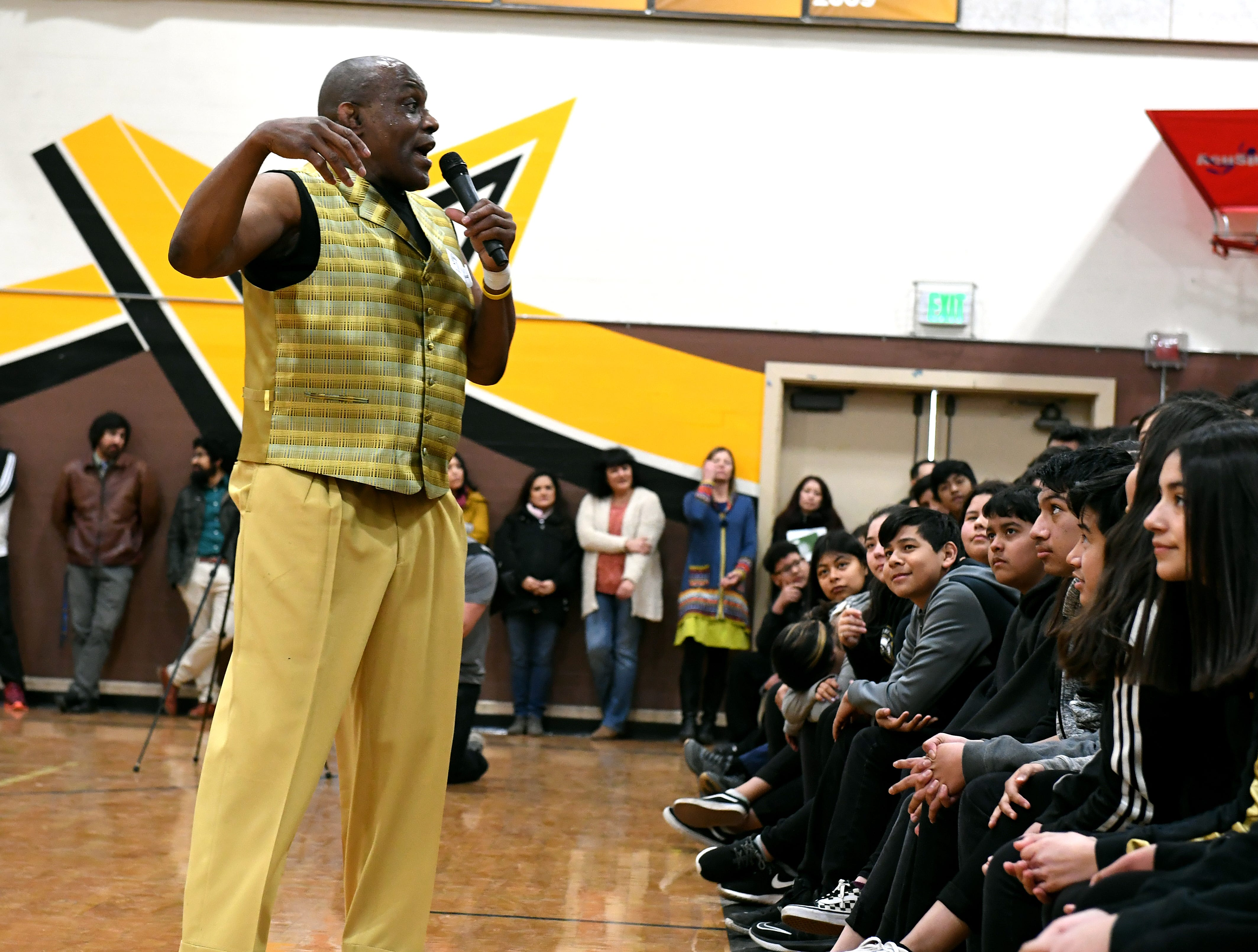 James Thompson speaks to students at El Sausal Middle School, his alma mater.