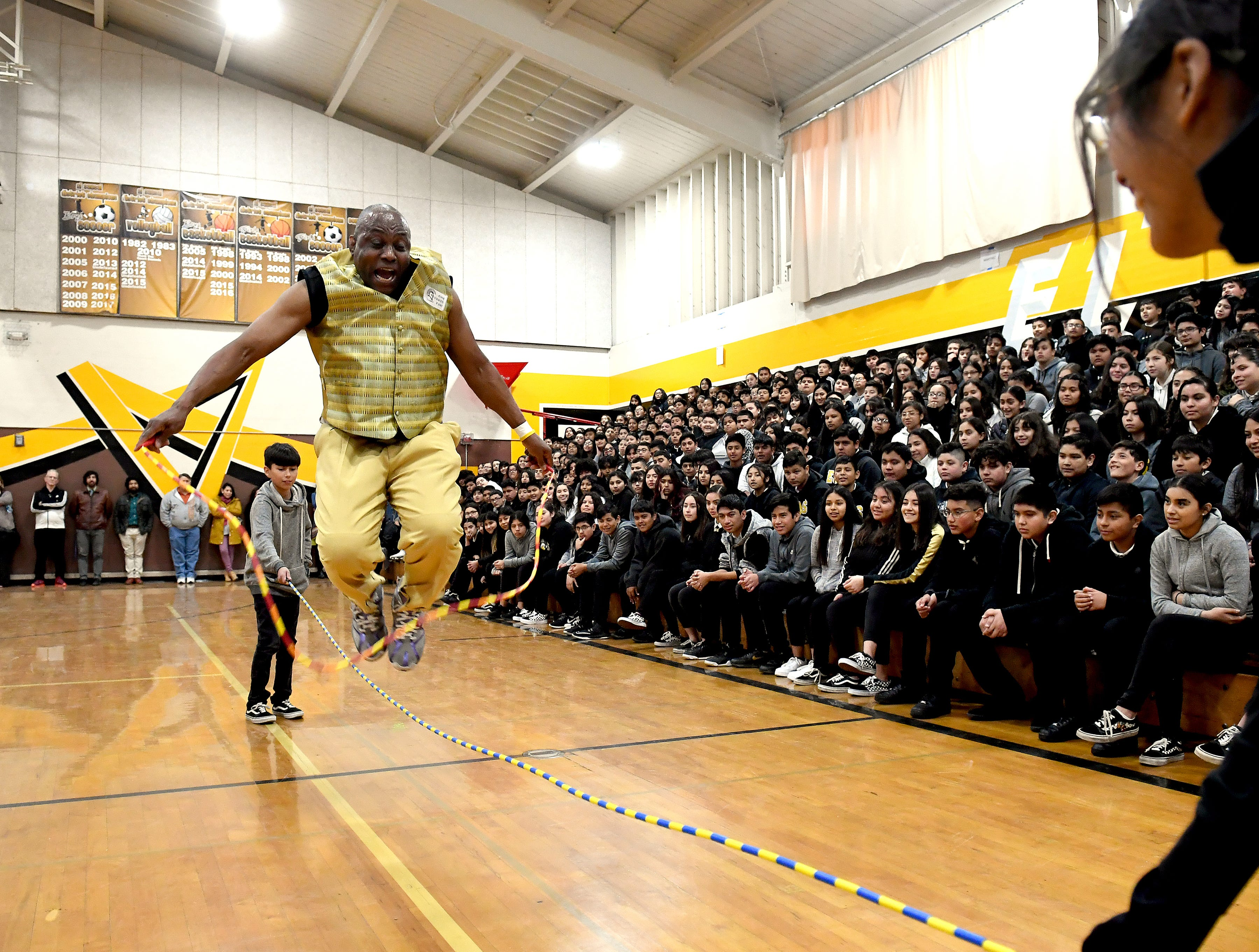 James Thompson jumps rope over a jumprope at El Sausal Middle School Feb. 21, 2019.