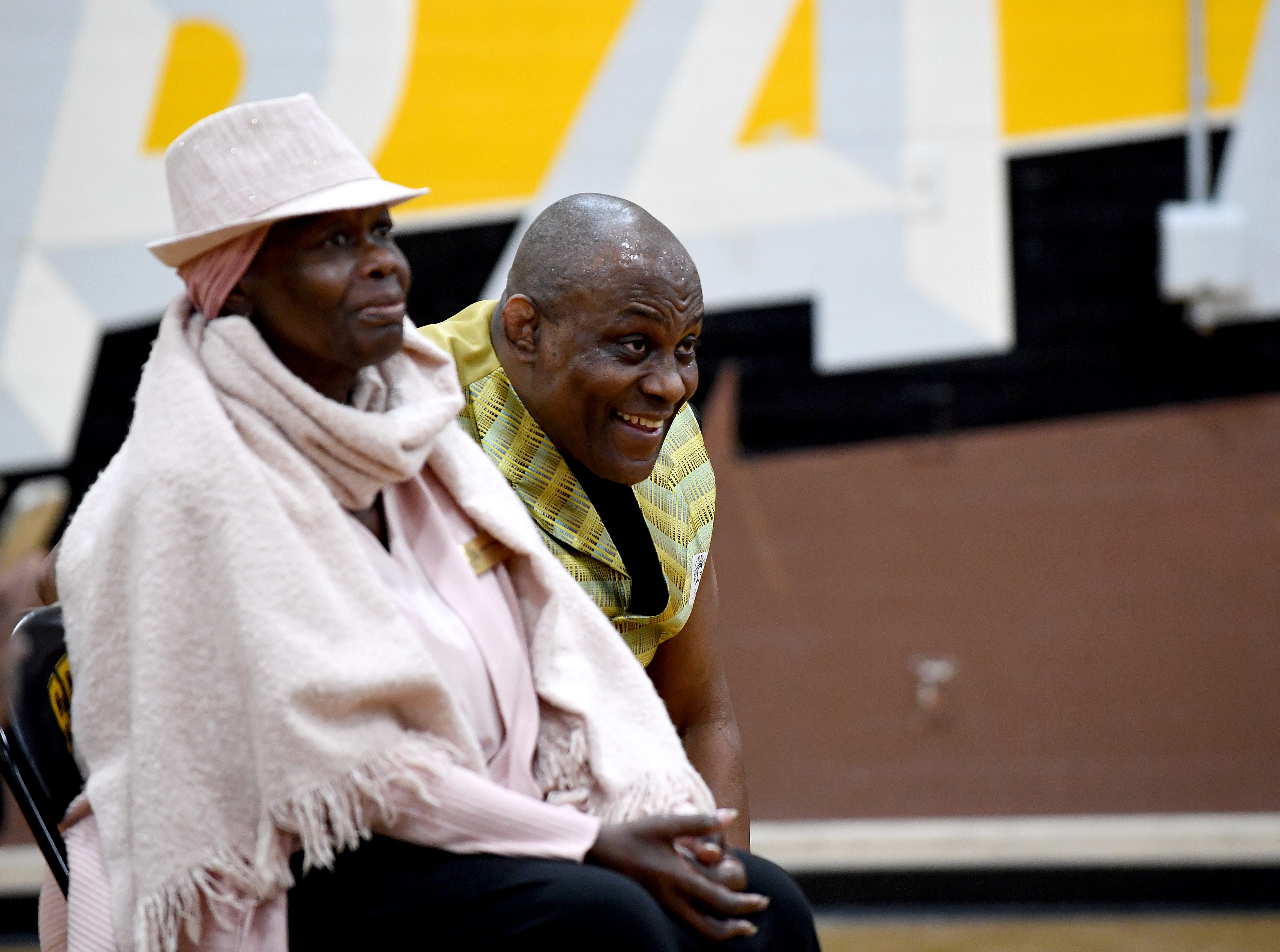 James Thompson sits with his sister Aretha Thompson during a break in his performance at El Sausal Middle School on Feb. 21, 2019.