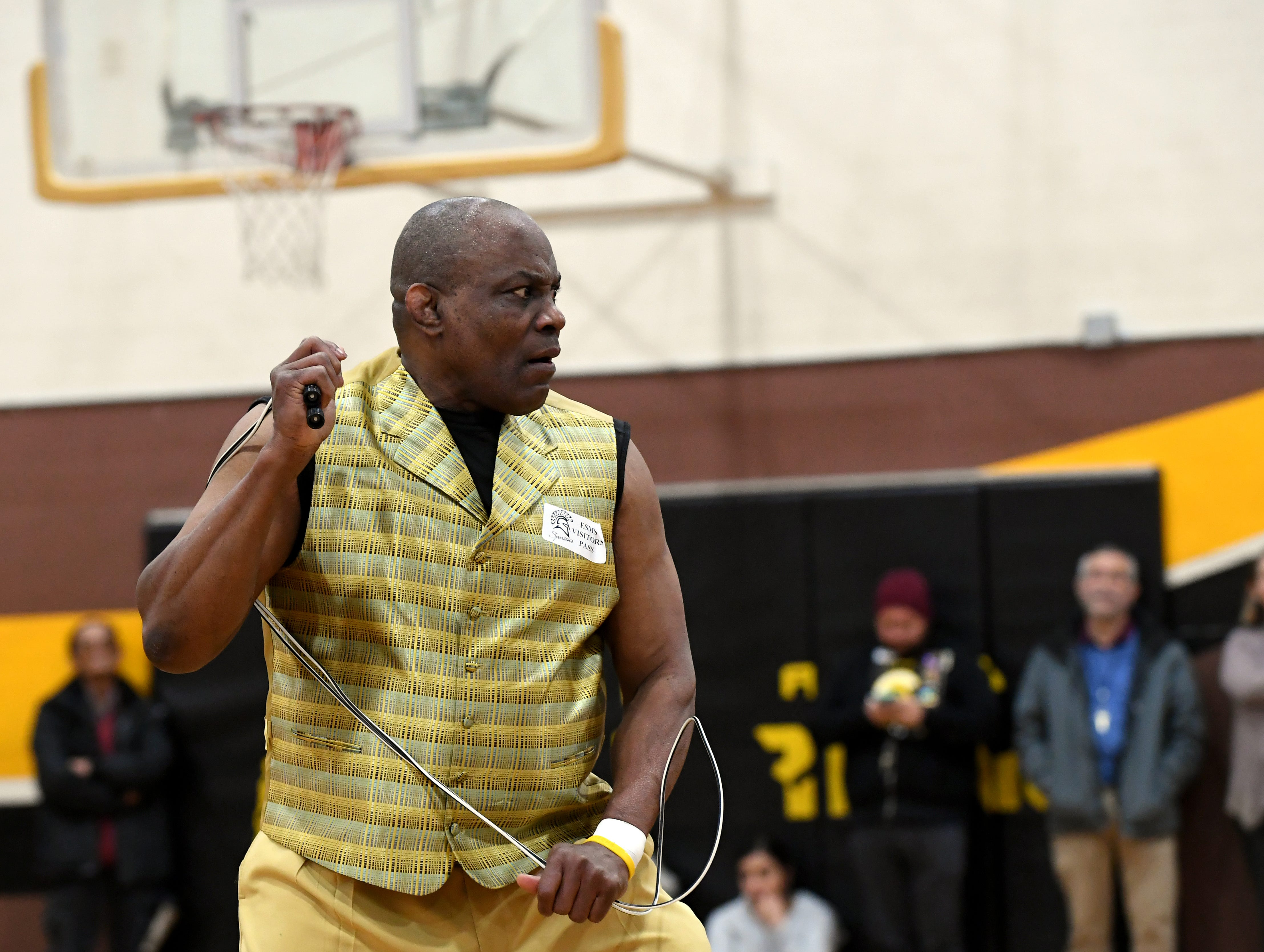 James Thompson performs martial arts during his visit to El Sausal Middle School Feb. 21, 2019.