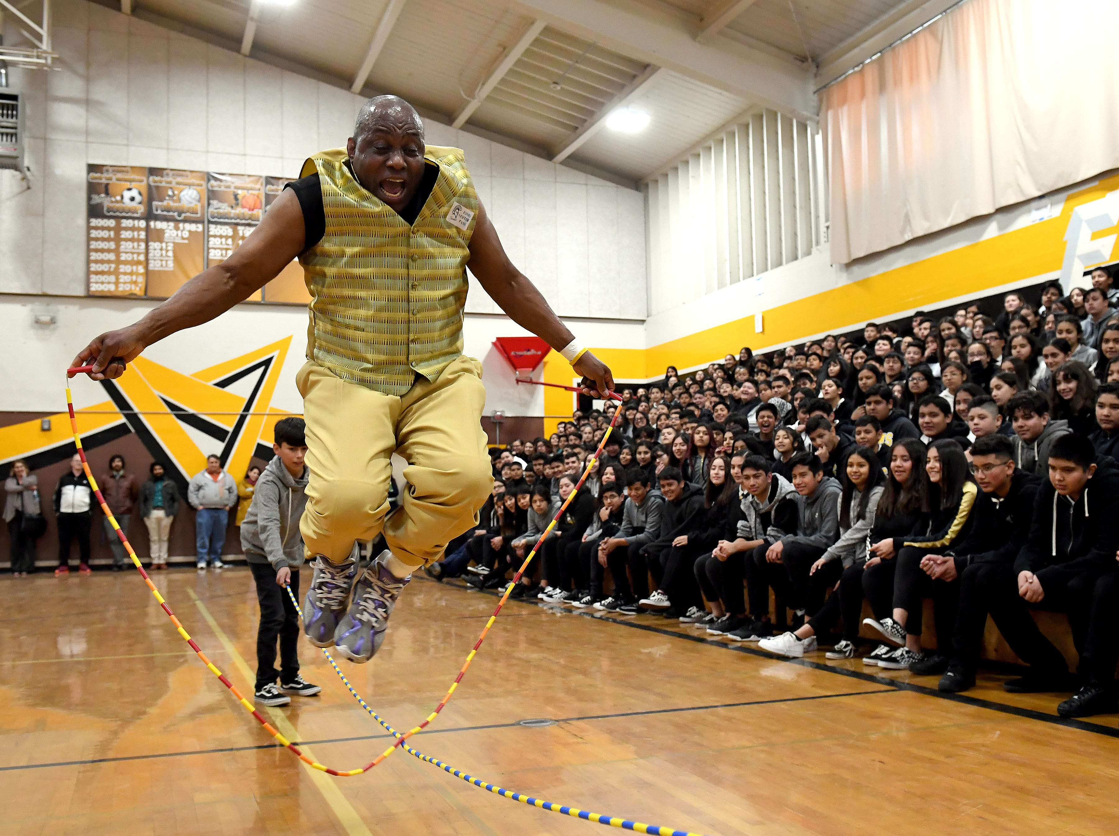 James Thompson jumps rope over a jump rope at El Sausal Middle School during a visit Feb. 21, 2019.