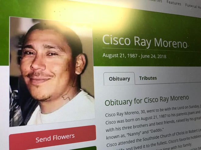 Screen shot of online obituary for Cisco Ray Moreno