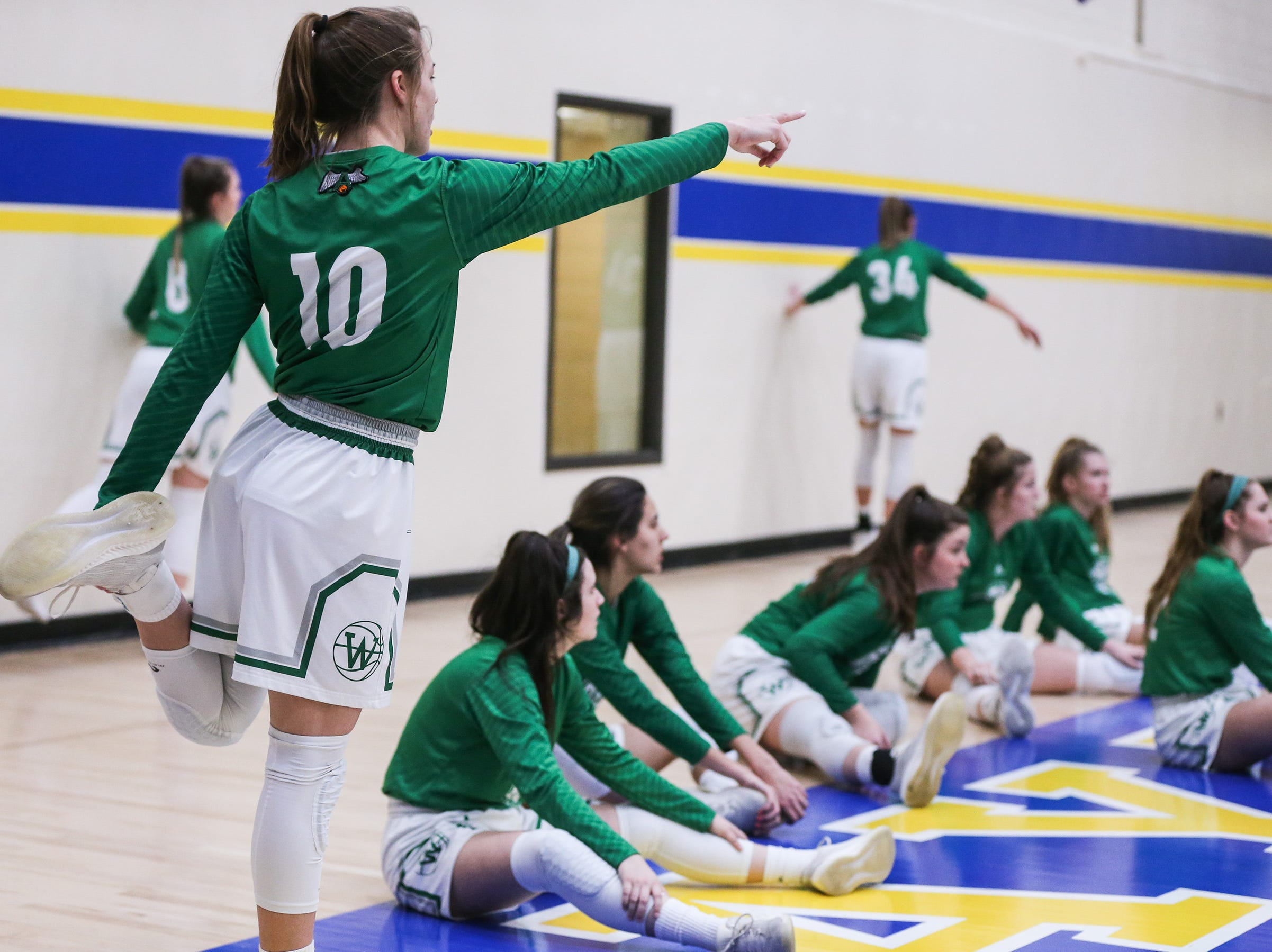 Wall girls practice before the 3A regional tournament game against Brock Friday, Feb. 22, 2019, at Wayland Baptist University in Plainview.