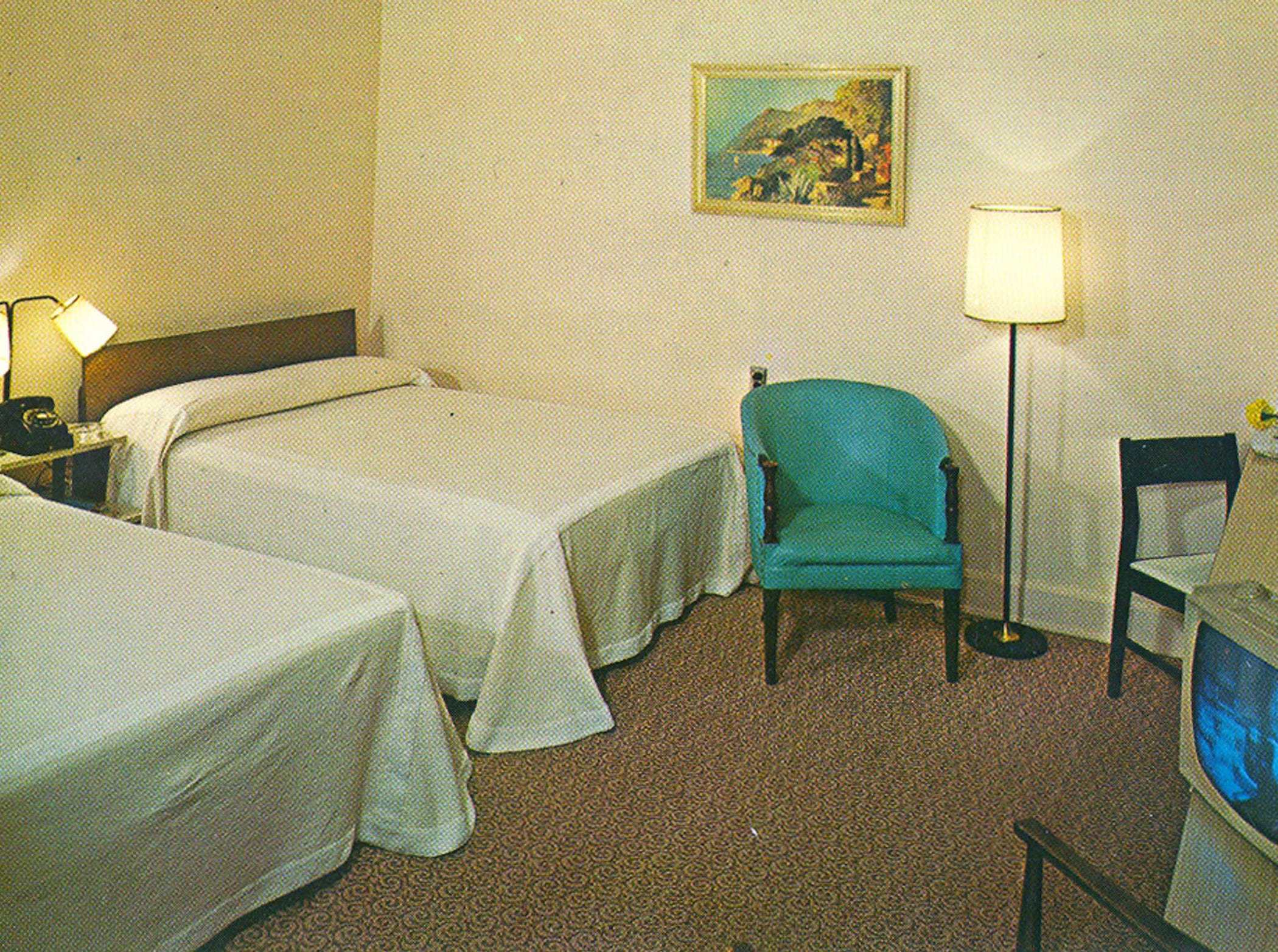 A 1960s postcard of a room at the former Whispering Pines Motel in Tasley. The tourist destination, which has been mostly vacant for over a decade, was set on fire Tuesday, March 12, 2013. Investigators believe the fire to be the work of an arsonist in Accomack County who has set more than 65 fires since November.