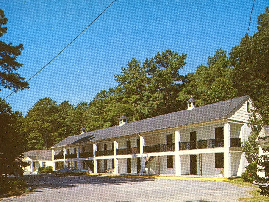 A 1960s postcard of the former Whispering Pines Motel in Tasley. The tourist destination, which has been mostly vacant for over a decade, was set on fire Tuesday, March 12, 2013.