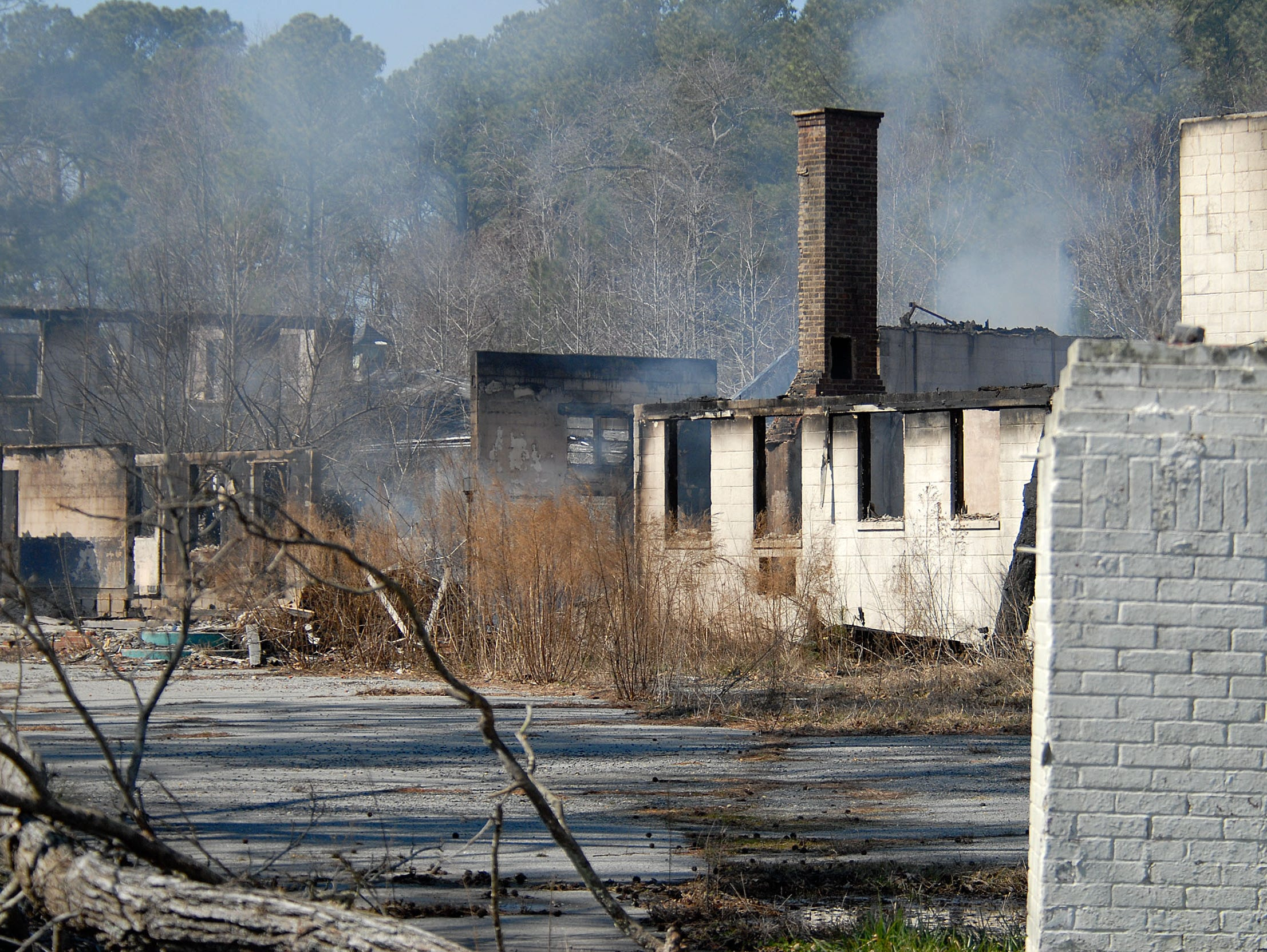 ...And this is what the property looks like the day after fire swept through the structure. Police are investigating the fire that destroyed the well-known Whispering Pines Motel as an arson.