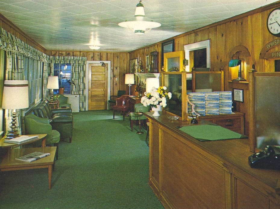 A 1960s postcard of the lobby of the former Whispering Pines Motel in Tasley. The tourist destination, which has been mostly vacant for over a decade, was set on fire Tuesday, March 12, 2013.