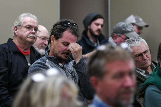 Land planner Harold Scrimgeour listens with frustration as the Wicomico County Health Department and the Maryland Department for the Environment lay out a plan to improve septic system permits at a meeting at the Wicomico Youth & Civic Center on Thursday, Feb. 21, 2019.